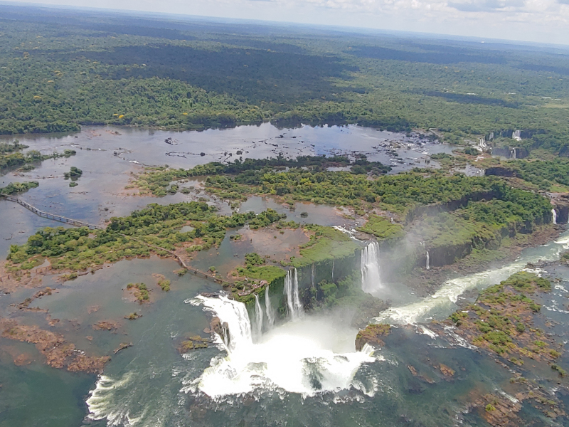 Iguacu Falls from helicopter